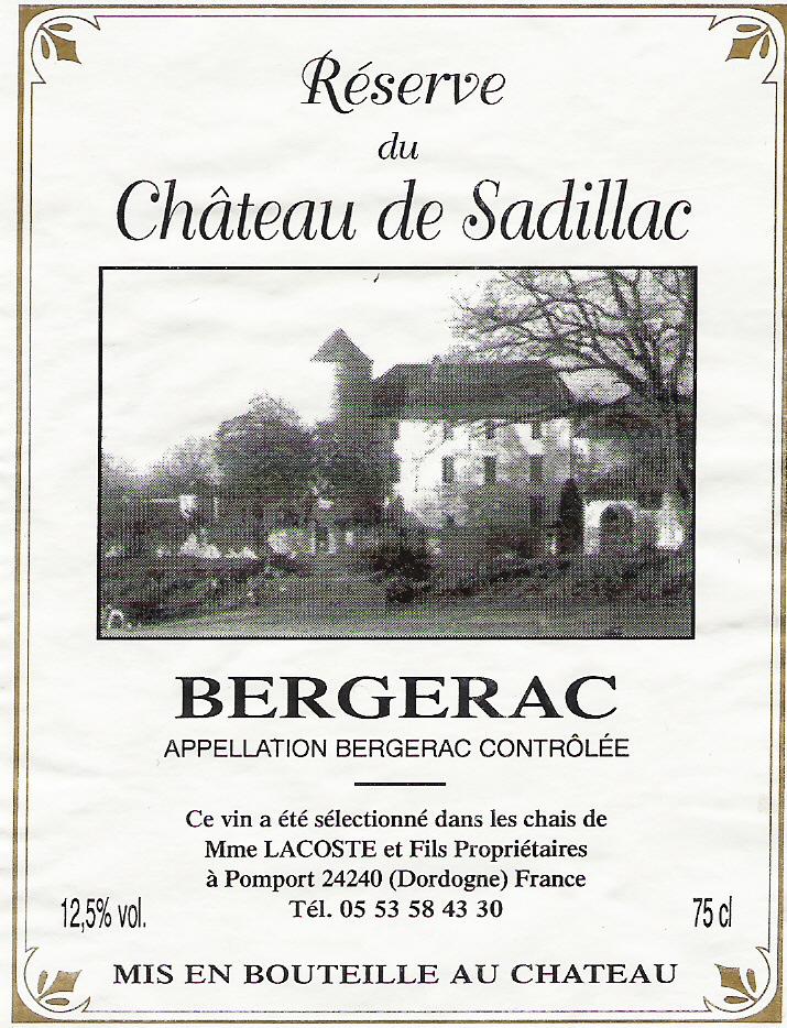 Wijnflesetiket Sadillac